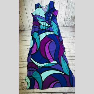 Purple Patterned Asymetrical Maxi Dress
